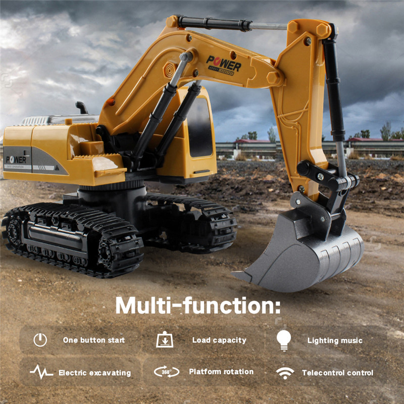 Mofun 1026 40Mhz 1/24 6CH RC Excavator Car Vehicle Models Toy Engineer Truck & Alloy Parts Light Music RC Car Kid Toys Gifts