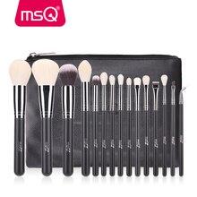 MSQ 15pcs Pro Makeup Brushes Set Powder Blusher Eyeshadow Blending Make Up Brushes High Quality PU Leather Case