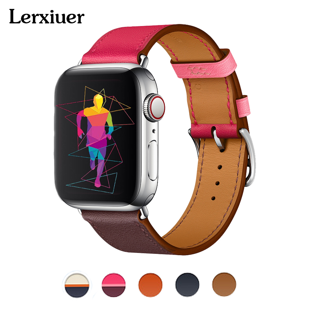 Leather strap for apple watch Hermes single tour band 4 44mm 40mm 42mm 38mm wrist bracelet belt iwatch series 4/3/2/1 watchband цена