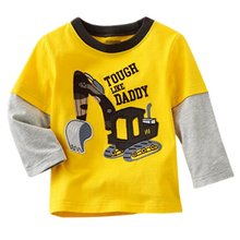 Newest Boys T-shirt Kids Tees Baby Tshirts Children Blouses Long Sleeve 100% Cotton Cars Trucks Stripes M1