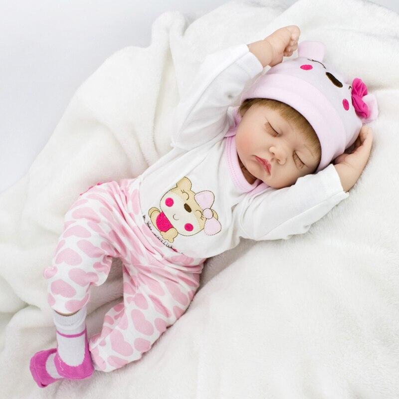 ФОТО Lovely Doll 20inch Soft Silicone Reborn Doll Toys 50cm Lifelike Realistic Newborn Doll Accompany Sleeping Bonecas Baby Alive
