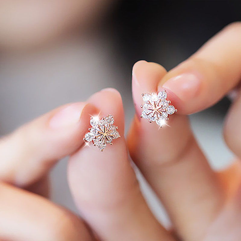 Stud øreringer New Hot Sell Trendy Super Shiny Zircon Ice Flower 925 Sterling Silver Earrings for Wholesale Wholesale Women