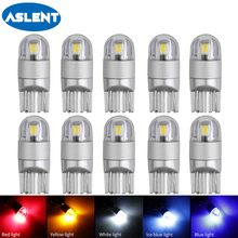 ASLENT 10pcs T10 W5W 194 168 Car Led Bulbs 3030 2SMD 6000K Lamp Red Ice Bule Yellow 12v Wedge Interior Lights Auto Accessories aslent 4pcs t10 w5w 194 led 3030smd car light bulbs auto lamp car door light turn reading lights ice blue white red yellow 12v