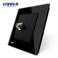 Wholesale Retail Black Crystal Glass Panel VL C791ST 12 1 Gang Satellite Socket Outlet Without Plug