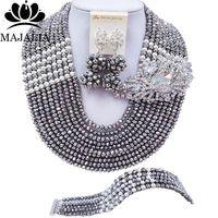Majalia Fashion Classic Nigerian Wedding African Jewelery Silver Crystal Necklace Bride Jewelry Sets Free Shipping 10CJ0027