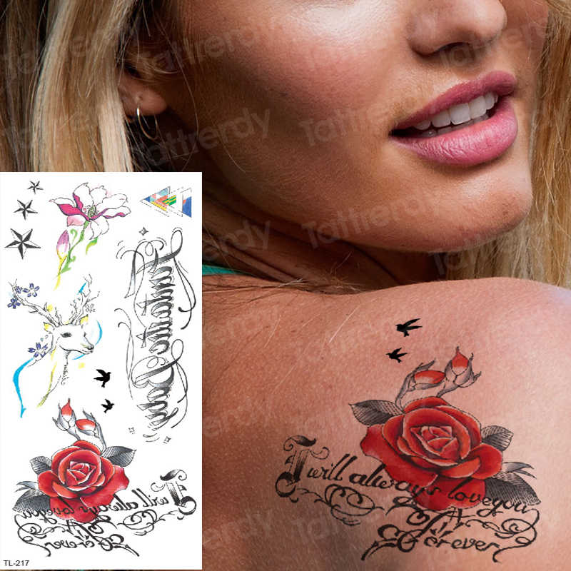 waterproof temporary tattoos for women tattoo sexy body flower tattoo red rose moose deer tatoo fake back arm tattoos unicorn