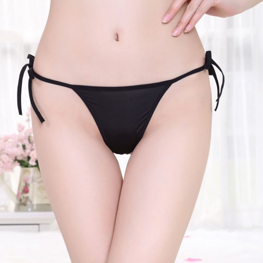 Womens Sexy Thongs G-String Adjustable Tie   Panties   Knickers Solid Color Low Rise