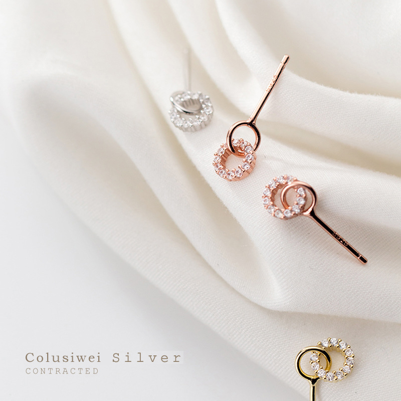 Colusiwei Dazzling Circle Stud Earrings for Women Clear 3 Color Cubic Zirconia Earrings 925 Sterling Silver Luxury Fine Jewelry