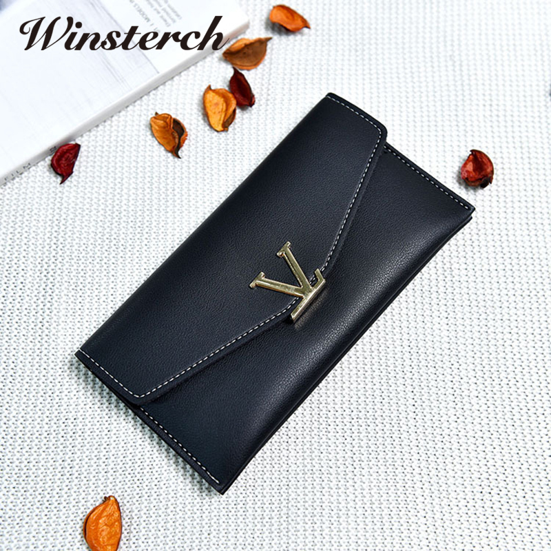 Women Wallets 2017 Brand Solid PU Leather wallet long Purse V Letter Luxury Female Carteira Ladies Coin Pocket Card Holder Y072 women wallets 2017 brand solid pu leather wallet long purse v letter luxury female carteira ladies coin pocket card holder y072
