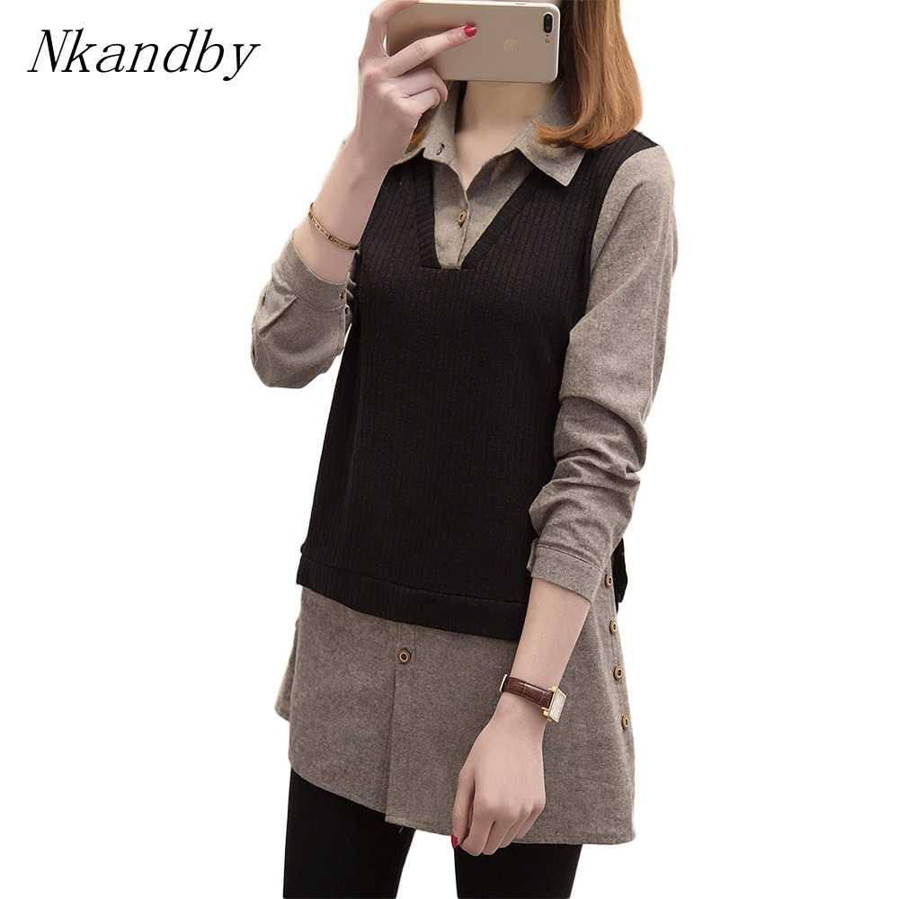 プラスサイズの女性のトップスやブラウスファッションターンダウン襟ニットパッチワークシャツ長袖 Blusa Feminina 5xl 女性シャツ