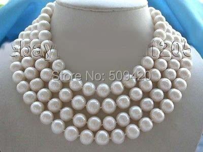 """W и O653 >> > серия 7"""" подлинных природных 10 мм Rould белый жемчужное ожерелье"""