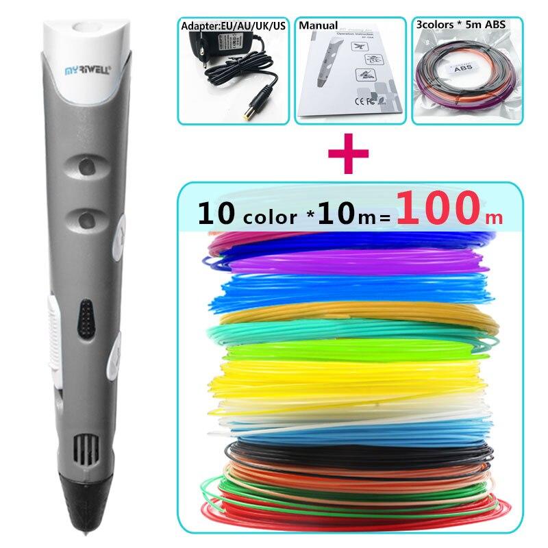 Myriwel 3d stylos + 10*10 m ABS Filament, 3 d stylo 3d modèle Smart 3d imprimante pen-3d magic pen, Enfants cadeaux, stylo 3 d 1.75mm ABS/PLA