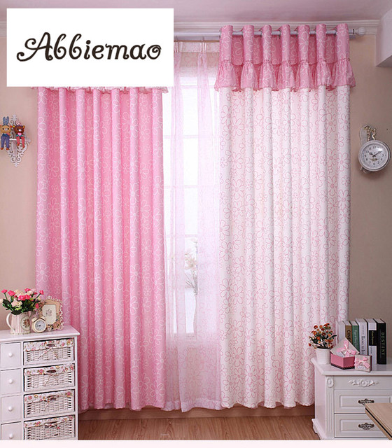 Abbiemao korean pastoral style lovely pink flower curtain high shade abbiemao korean pastoral style lovely pink flower curtain high shade curtain matched tullefor childrens bedroom living mightylinksfo