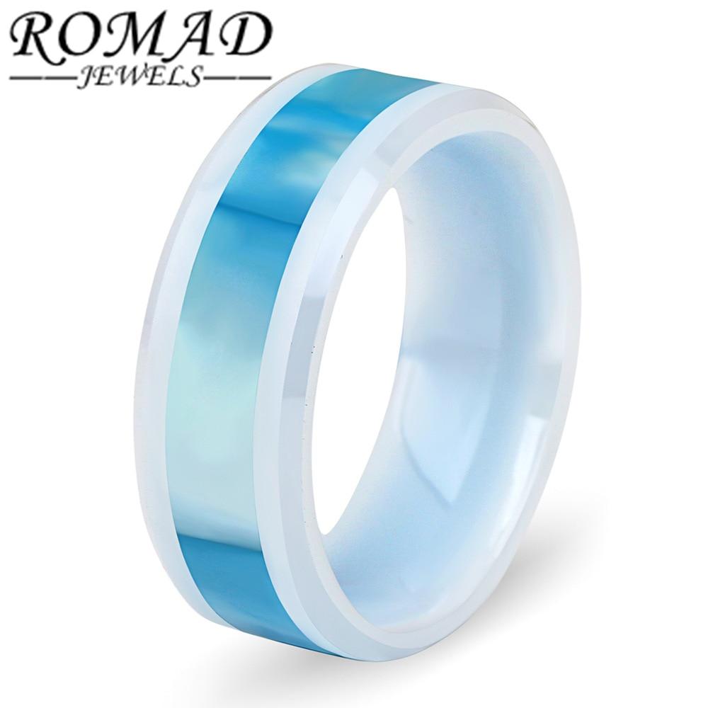 ROMAD Polishing Ceramic Rings Women Jewelry White Blue Cross Fashion Wedding Brand Jewelry High Quality Engagement Finger Ring