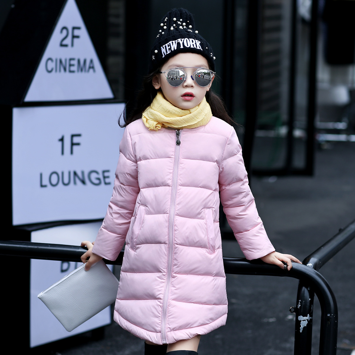 High Quality Long Girls Winter Coat O-neck Solid Duck Down Jacket For Girls Children Outerwear Winter Jackets Coats LSK102
