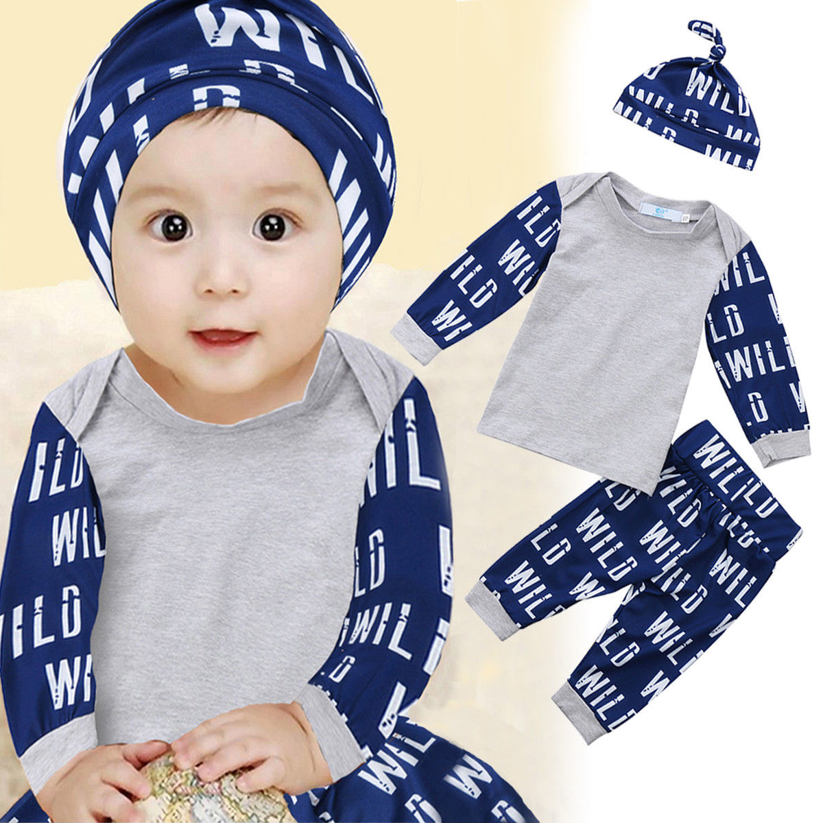 3pcs Newborn Toddler Infant Baby Boy Girl Letters Wild Printing Clothes T-shirt Tops+Pants Outfits Set