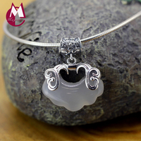 100% 925 Sterling Silver Necklaces Pendants For Women 3 Color Jade Pendant Hollow Vintage Double Fish Carving Lotu Flower SP09