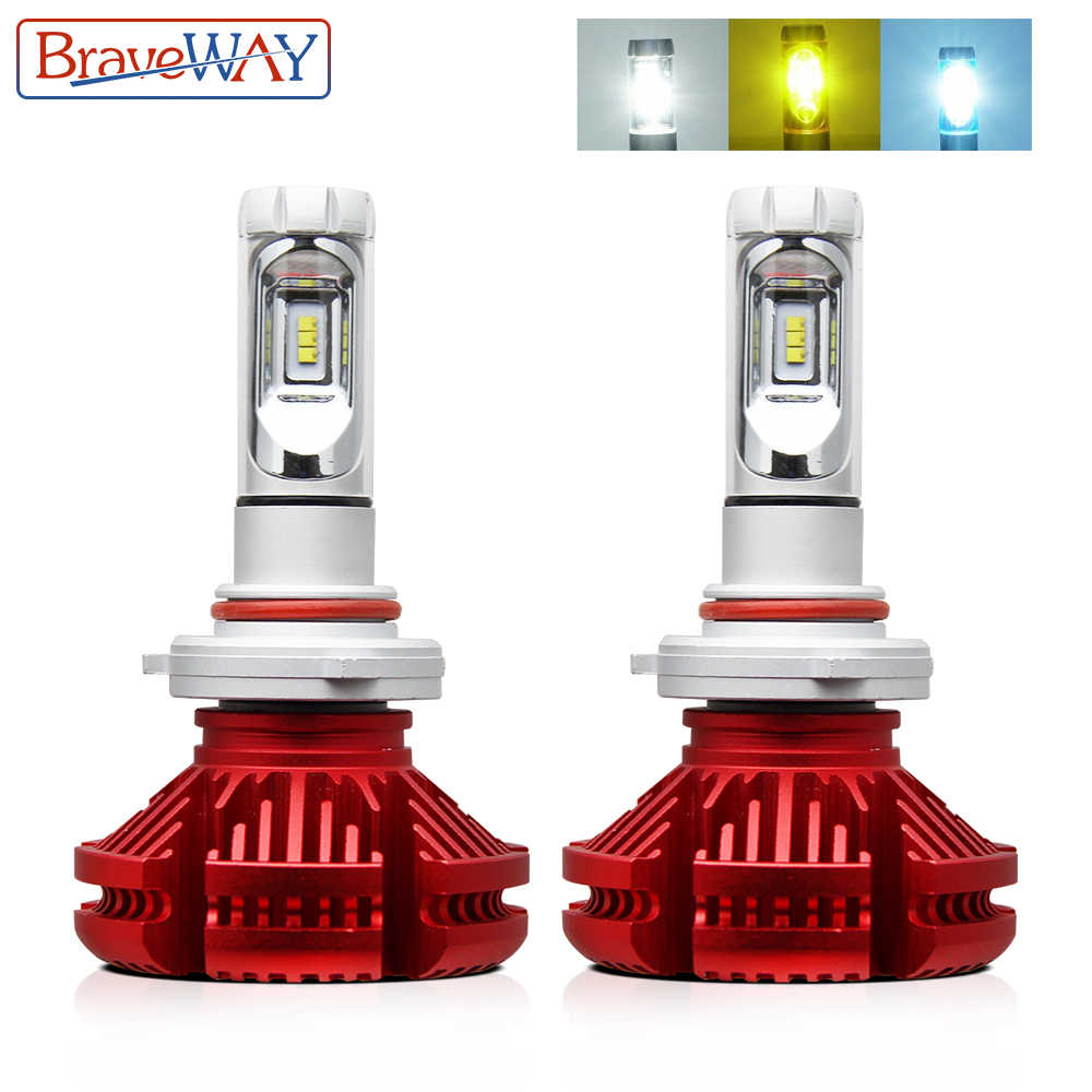 BraveWay 3000K/6500K/8000K Led Headlight Bulbs H7 LED H4 H8 H11 9006 HB4 Dual LED Auto Lamp Multiple Color Fog Lights