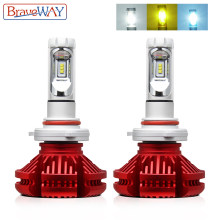 BraveWay 3000K/6500K/8000K Led Headlight Bulbs H7 LED H4 H8 H11 9006 HB4 Dual LED Auto Lamp Multiple Color Fog Lights(China)