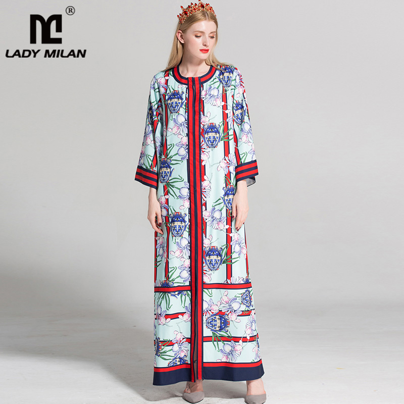 2018 Womens O Neck 3/4 Sleeves Loose Design Floral Printed Pajamas Sash Belt Striped Fashion Designer Long Casual Dresses