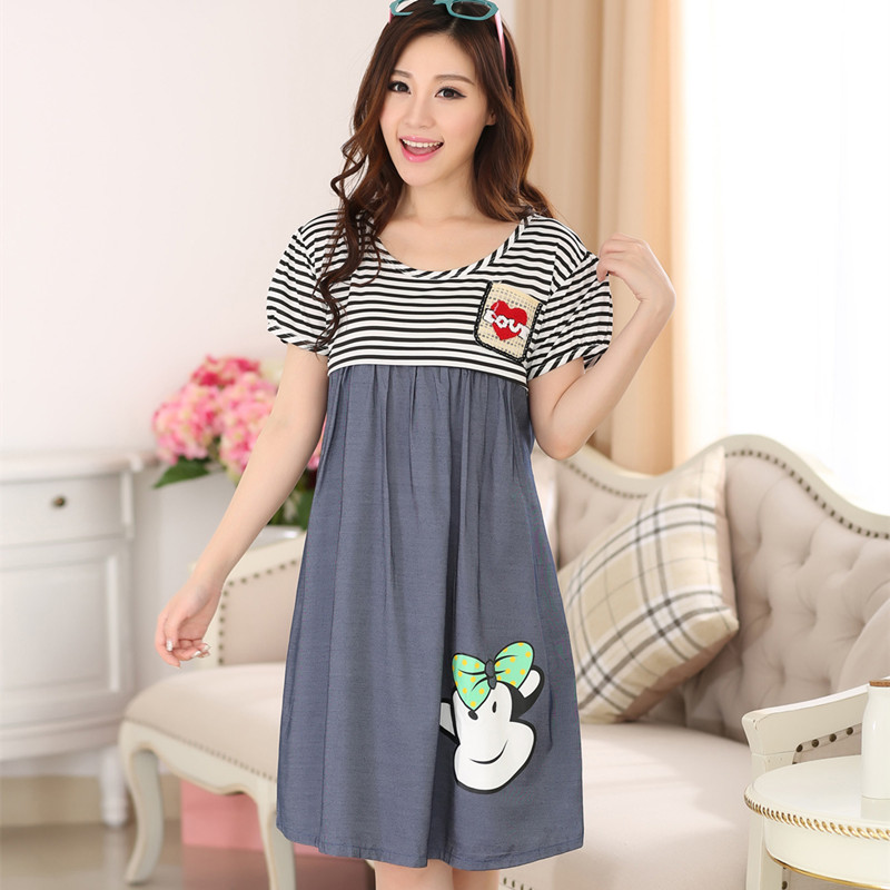Maternidade Sale 2018 Pregnant Maternity Clothes Summer New Cartoon Short Sleeved Cotton Breast Dress In The Long For Women
