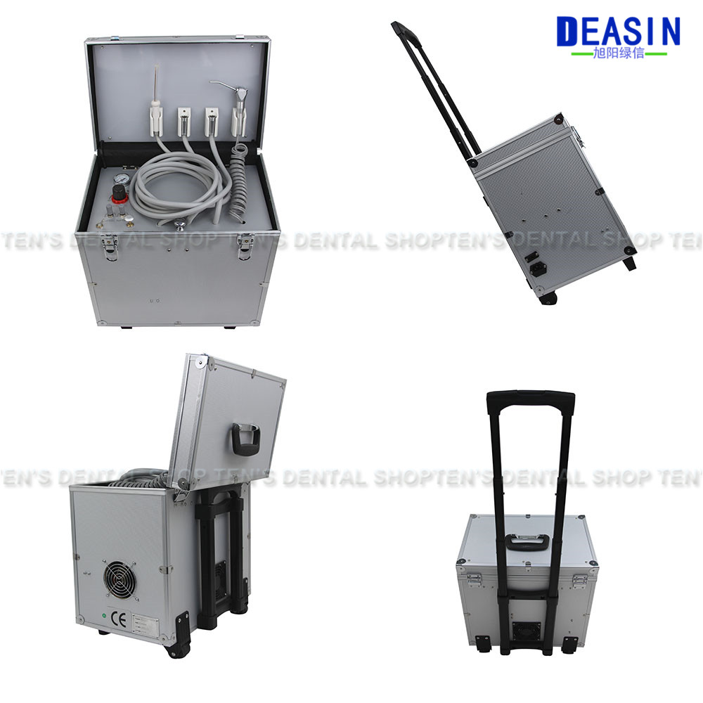 Portable Dental Unit with High and low speed HP tube,3 Way Syringe, Oilless Air Compressor, Water bottle, Foot Control dental portable turbine unit 3 way syringe 4 hole bottle work w compressor