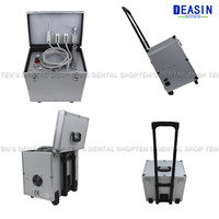 Portable Dental Unit with High and low speed HP tube,3 Way Syringe, Oilless Air Compressor, Water bottle, Foot Control