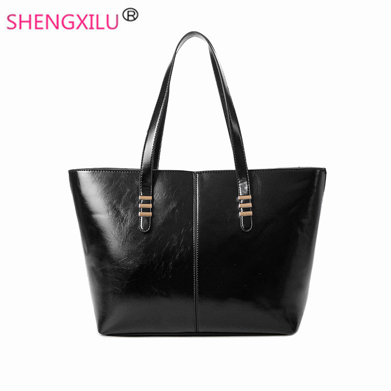 ФОТО Shengxilu simple fashion women handbags brand black leather shopping ladies shoulder bags 2017 new spring autumn big women bags