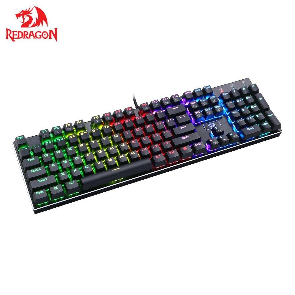 Redragon K556 DEVARAJAS RGB Backlit Mechanical Gaming Keyboard 104 Keys Metal Base Brown Switches Gamer Keyboard