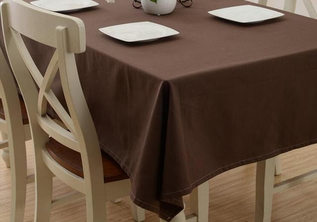 Solid Coffee Bule Cream Color Cotton Table Cloth For Home Hotel Party