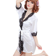 Ladies Sexy Chiffon Nightgown 2019 Simple Lace Sleeve Sexy Silk Lace Dressing for Robe Lingerie Nightdress szlafrok a80(China)