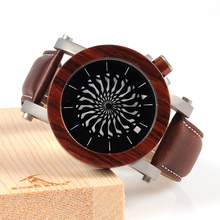 Ebony Pink Picket Wrist Watches for Males Cool Rotating Dial