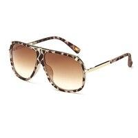 2017 Beige Leopard Sunglasses Women Vintage Oversized Sunglasses Occhiali Da Sole Donna UV400 Outdoor Goggle Eyawear With Box