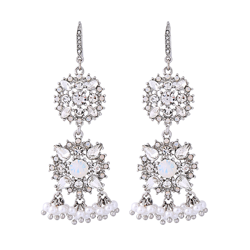 ed00521c 2018 New Jewelry Silver Color Crystal Flowers