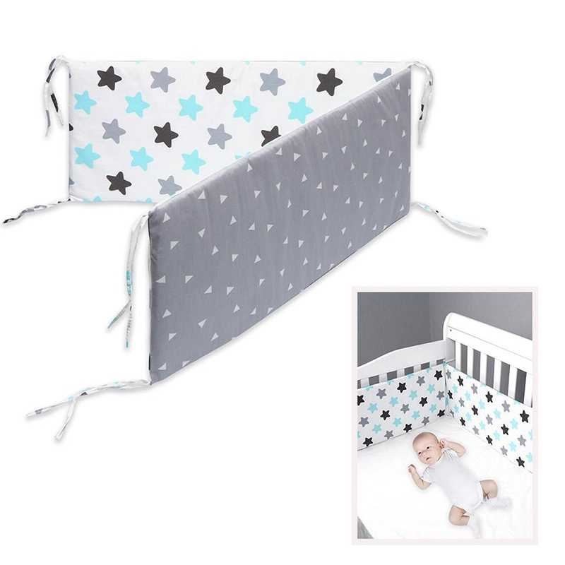 ผ้าฝ้าย Breathable Crib กันชน Pad ล้างทำความสะอาดได้หนา Baby ชุดที่นอนเด็กกันชนกันชนรั้วที่นอนเด็กดาว
