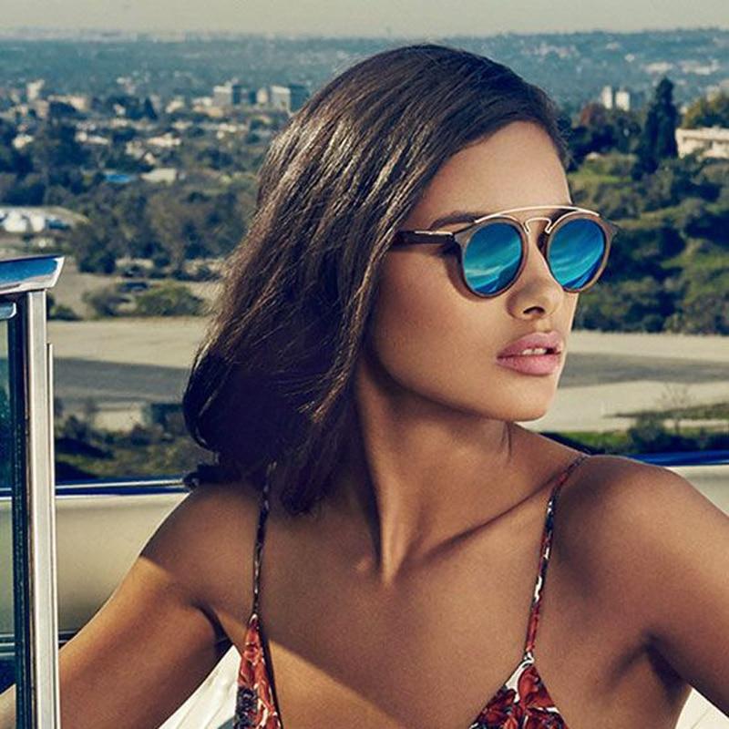 TESIA Luxusní sluneční brýle Dámské značkové oválné sluneční brýle pro ženy Zrcadlové dámské odstíny v Gatsby stylu brýlí T651