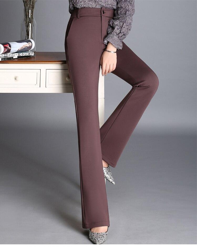 rojo Longitud Color blanco Moda Nueva Plus Cintura púrpura Otoño 7 Qzq0606 Algodón Tamaño Negro azul Negro Sólido Rectos Mujeres marrón Alta Primavera De Pantalones La Para rosado Mezcla FwqapEqd