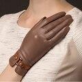 Nova Chegada 2017 Mulheres Da Moda Inverno Genuína Pele de Carneiro Luvas Térmicas Pulso Luva Sólidos Cinco Luvas de Dedo Frete Grátis 745