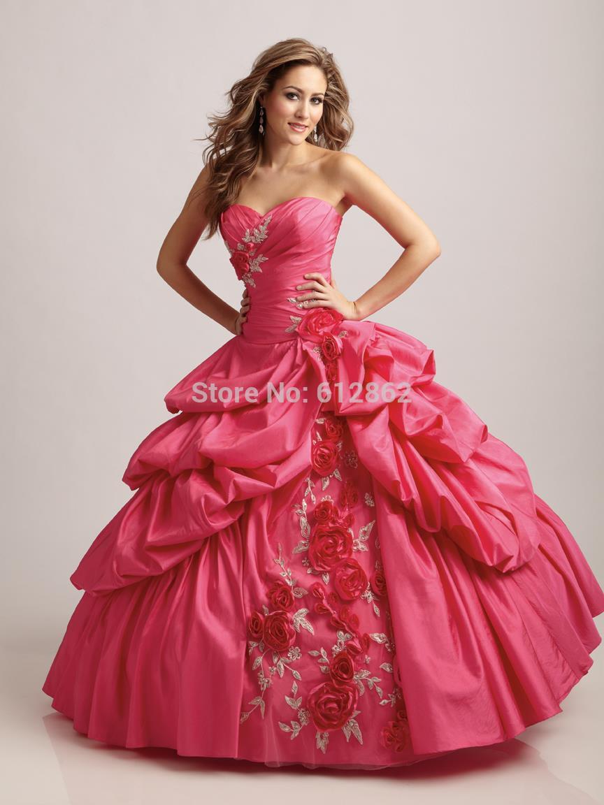2017 Strapless Taffeta Ball Gown Hot Pink Wedding Dress-in Wedding ...