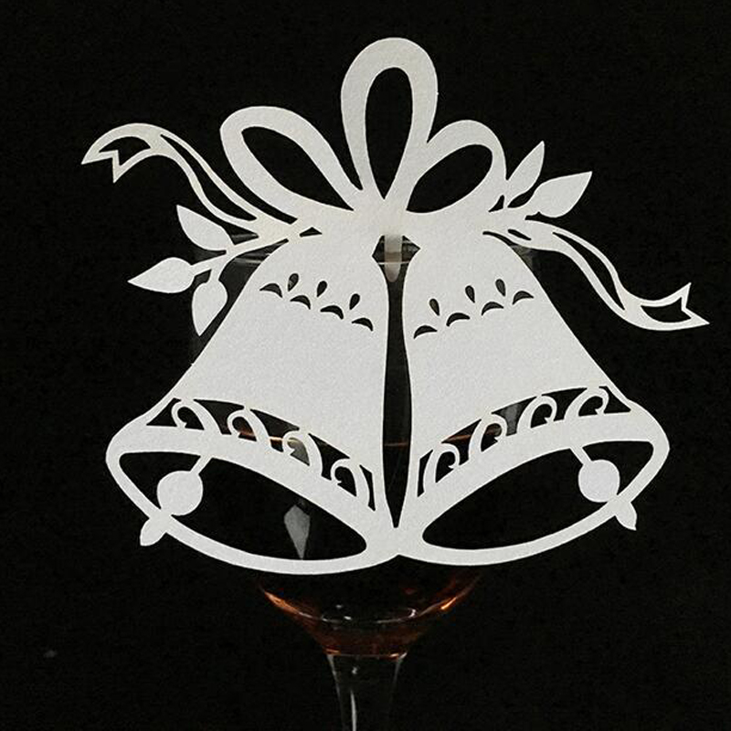 10 Color 100pcslot Laser Cut Bell Paper Place Card  Escort Card  Cup Card Wine Glass Card For Wedding Christmas Decor Favors (5)