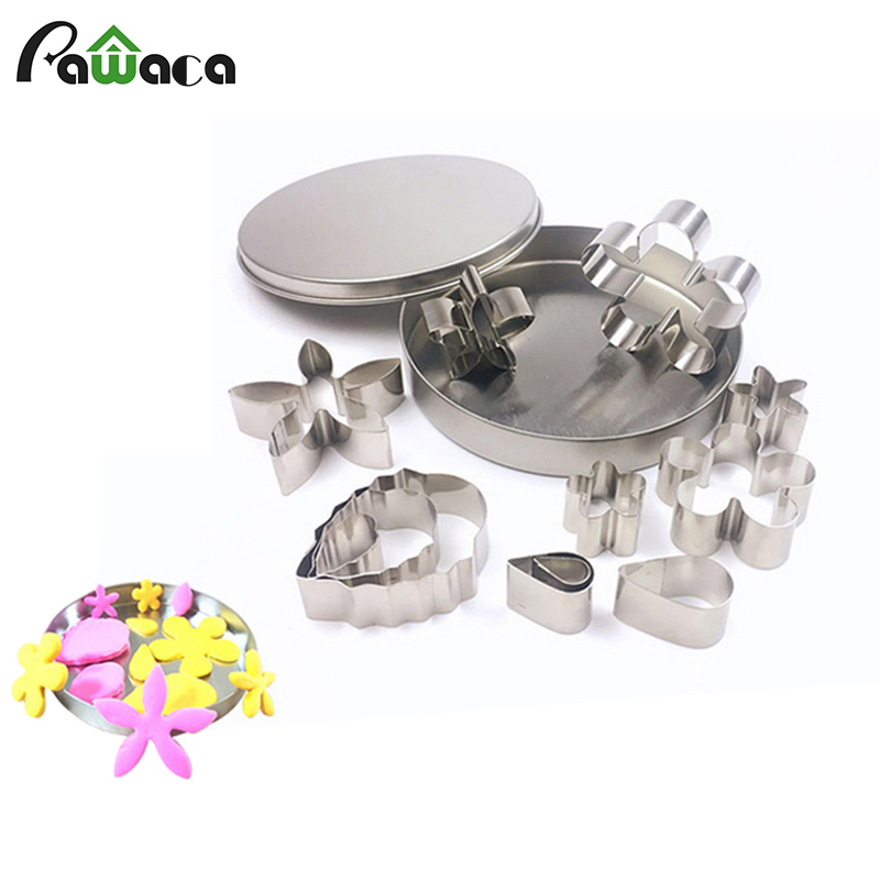 12pcs/set Stainless Steel <font><b>Flower</b></font> Shape Cookie <font><b>Cutter</b></font> Mold DIY Sugarcraft Fondant <font><b>Cake</b></font> Biscuit Baking Mold <font><b>Cake</b></font> <font><b>Decorating</b></font> <font><b>Tools</b></font> image