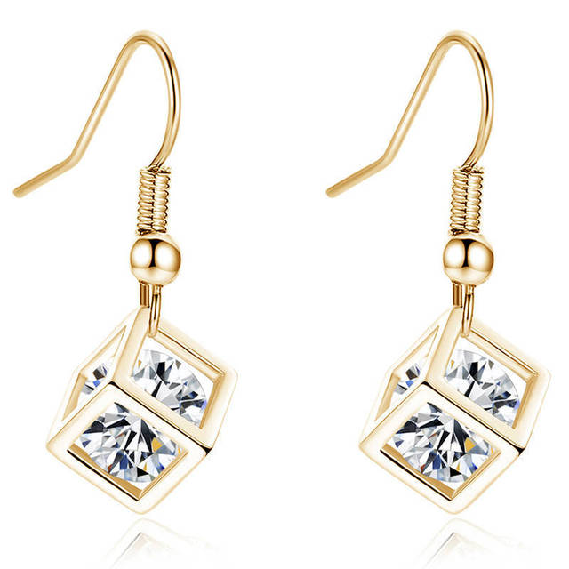 Women Luxur Zircon Earrings Cube Creative CZ Earrings Gold Transparent For Women Women Wedding Engagement Jewelry Accessories Fine Jewellery Jewellery & Watches Women's Fashion