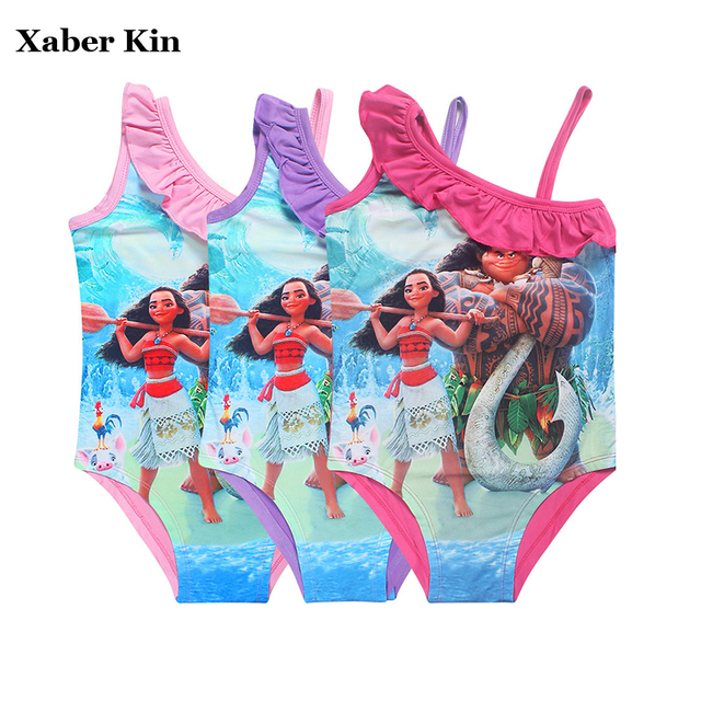 cd18e2c2547fd 3-10T Girls One Piece Swimsuit Children Girls Summer Swimwear Kids Girls  Print Cartoon Swimming Suits G2-K327