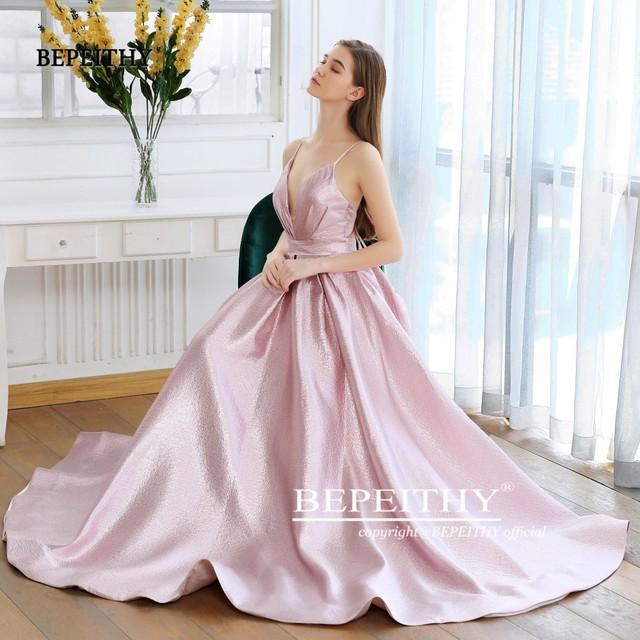 BEPEITHY Pink Glitter Long Evening Dress Party Elegant Sexy Cross Back A-line Shine Prom Dresses Vestido De Festa 2019 New 2