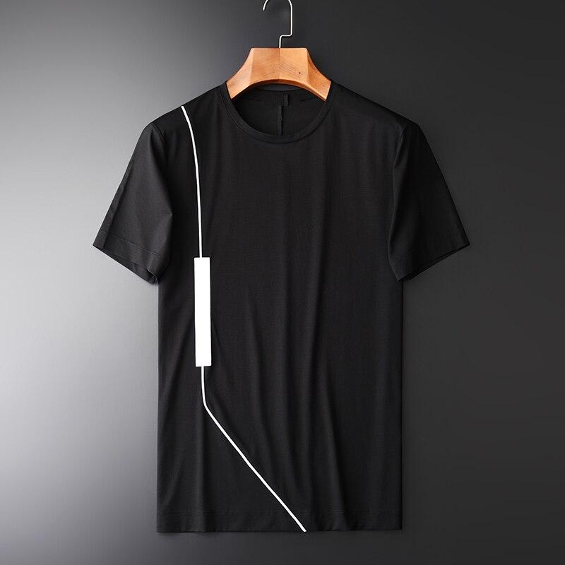 Minglu Modal Short Sleeve Men's Fashion T-shirts New Arrival Patchwork O-neck Slim Black Men T-shirts Comfortable Fabric 4XL