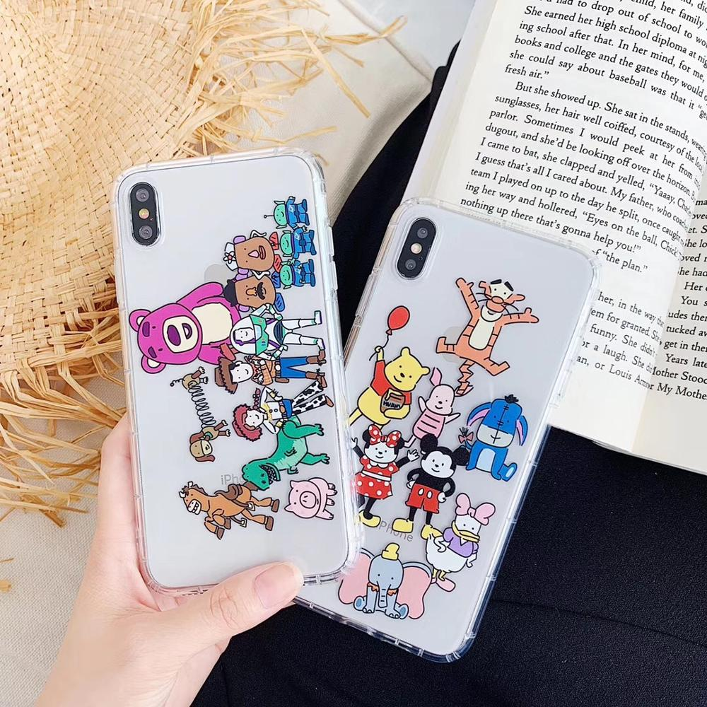 Cartoon Clear Case minnie mickey for iphone X XS Max XR 7 8 6 6S Plus doll toy story plush cover coque fundas