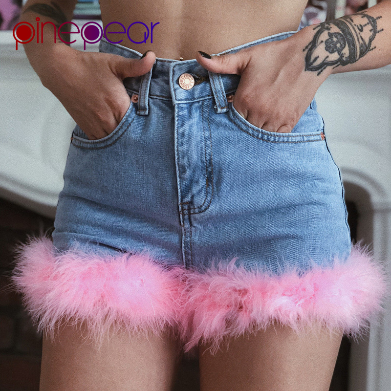 PinePear 2019 Summer Cute Women Pink Faux Fur Feather Patchwork Denim Shorts Fashion High Waist Blue Short   Jeans   Sweet Hotpants