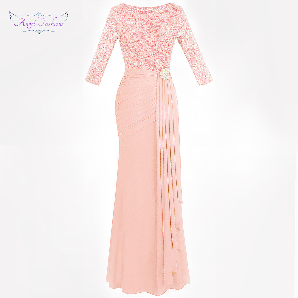 d07b6c0b0b Angel-fashions Women's 3/4 Sleeve Evening Dress Long Pleated Ruffle Slit  Maxi Party Gown Black Elegance 445