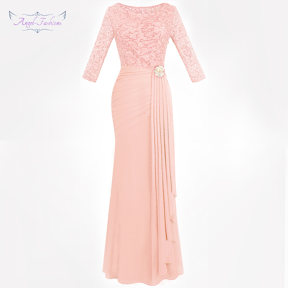 Angel-fashion Women's Half Sleeve Evening Dresses See Through Lace Pleated Tulle Brooch Party Gown 356