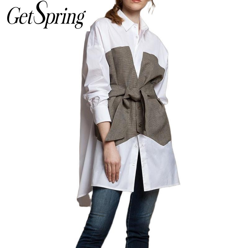 GetSpring Women   Shirt     Blouse   Cotton Loose Long   Blouse     Shirts   White Bow Fake Two Pieces Office Women   Shirt     Blouse   Tops Plus Size